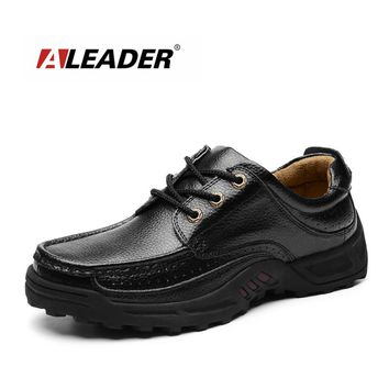 Leather Men Loafers Mocsasins Outdoor Creeper Oxford Shoes Casual Slip On Male Dress Shoes Leather