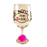 Happy Birthday Oversized Wine Glass Cheetah Print with Marabou Your favorite online gift shop!