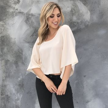 Knot to Mention Cream Bell Sleeve Blouse