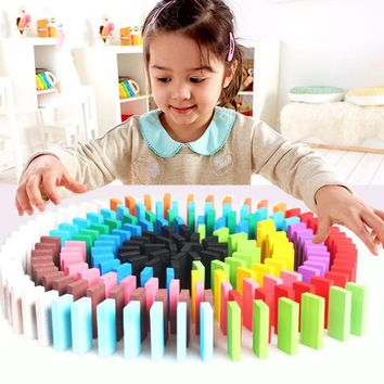 Fancy 120pcs/Set Wooden Multi colors Creative Domino Games Toys Rainbow Wood Domino Blocks Kids Early Educational Wooden Toys