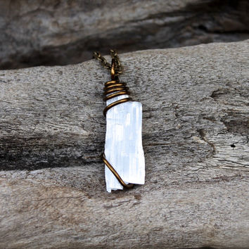 Crystal Necklace - Natural Selenite Necklace - Wiccan Jewelry - Bohemian Necklace - Selenite Jewelry - Boho Jewelry - Wire Wrapped Pendant