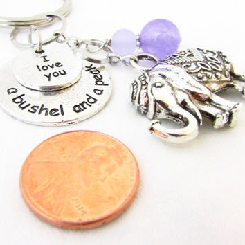 Elephant Keychain, Love You Keychain, Bushel & Peck Keychain, Purple Keychain, Charm Keychain, Car Accessory