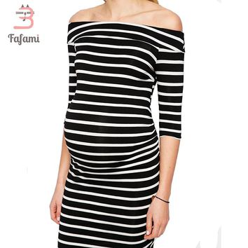 High Fashion Maternity Dresses Striped Nursing Dress Outwear Clothes For Pregnant Women Pregnancy Maternity Clothing photo