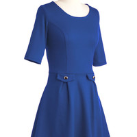 ModCloth Short 3 A-line You Guest It Dress in Blue