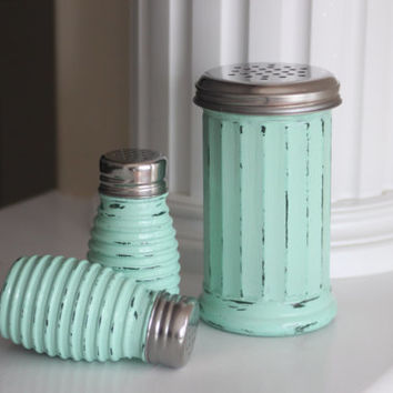 Kitchen Shakers, Table Shakers, Cheese Shaker, Spice jars, Kitchen Jars, Rustic Kitchen, Distressed Table Setting, Mint Green Kitchen, Gift