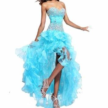 MISSYDRESS Strapless Rhinestone Bridesmaid Evening Party Prom Cocktail Dress 04-Blue US size 6