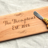 Personalized Wood Serving Tray with Modern Handles - Custom Wooden Cheese Board