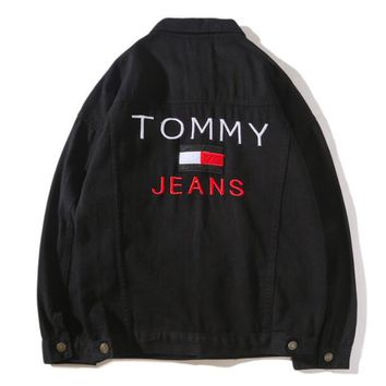Tommy Jeans Autumn Popular Women Men Casual Embroidery Long Sleeve Denim Cardigan Jacket Coat Black