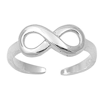 Sterling Silver Classic Infinity 6MM Toe Ring/ Knuckle/ Mid-Finger