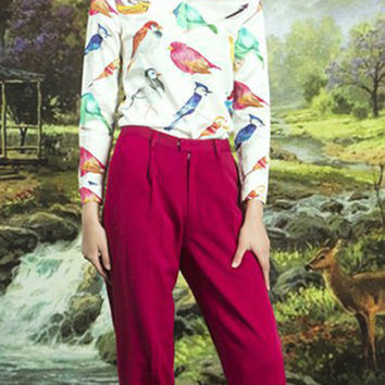 Colorful Birds Print Shirt in White