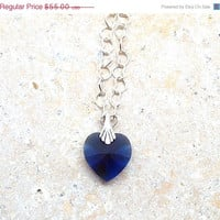 On Sale Swarovski Heart Necklace Blue Dark by GirlBurkeStudios