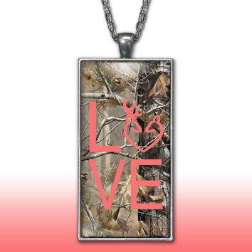 Camo Love Heart Pendant Charm Necklace Deer Head Browning Coral Country Girl Custom Necklace, Silver Plated Jewelry