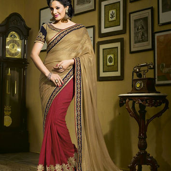 Velvet Based Tan Brown Saree