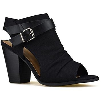 Premier Standard Womens Strappy Open Toe High Heel  Sexy Stacked Wood Sandal  Vegan Leather Cutout Shoe