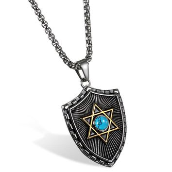 SHIPS FROM USA Fashion Big Shield Pendants 2017 Necklaces For Men Women Stainless Steel Punk Hexagram Blue/Black Crystal Pendant