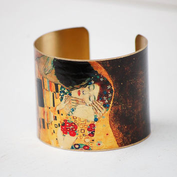 The Kiss BRACELET Cuff Bohemian LOVERS Gustav Klimt Art Bracelet