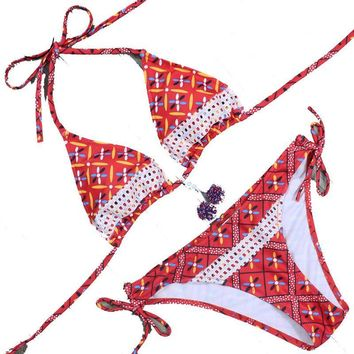 Swimwear Vintage Print Bikini pad support Wire Free women bikini set