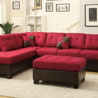 3 pc Madison collection 2 tone carmine linen like fabric and faux leather sectional sofa with reversible chaise and ottoman