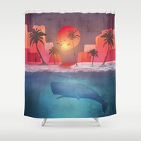 Tropical island and the whale Shower Curtain by vivianagonzlez