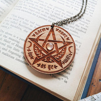 MOONSTONE WOOD PENTACLE necklace Pentagram Witch pagan Jewelry Wicca - Harm None, Do as Ye will - 5cm Laser cut pendant - Medusa Dollmaker