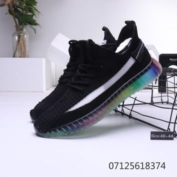 adidas Yeezy Boost 350 V2 Black Rainbow Sole Running Shoes - Best Deal Online