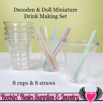 Miniature Doll Drink Making Kit 8 cups & 8 mini straws