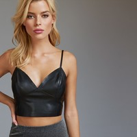Faux Leather Bustier Crop Top