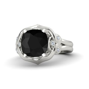 Cushion Black Onyx 14K White Gold Ring with White Sapphire & Diamond
