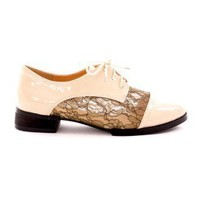 Creamy Lace Oxford Flat Shoes - New Arrivals - Retro, Indie and Unique Fashion
