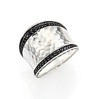 John Hardy - Classic Chain Black Sapphire & Sterling Silver Small Saddle Ring - Saks Fifth Avenue Mobile
