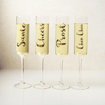 Gold Cheers Contemporary Champagne Flutes 8 oz.