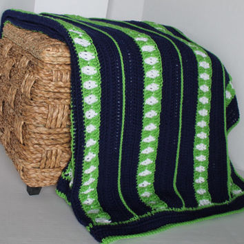 Afghan- Queen Size Crochet Blanket - Navy Blue, Spring Green, and White