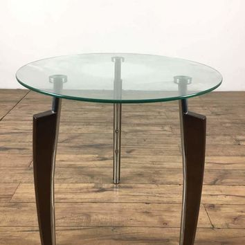 Mid-Century Modern Contemporary Chrome and Glass Top End Table