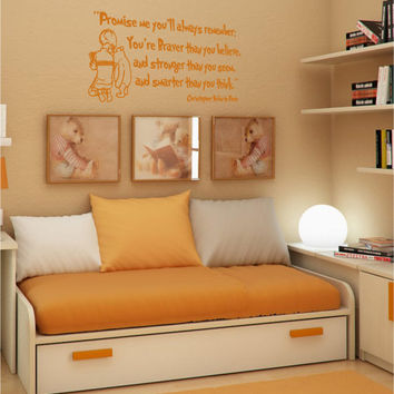 Promise me you'll always remember you're braver than you believe Winnie the Pooh  vinyl wall art decal