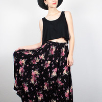 Vintage 90s Skirt Black Floral Print Tiered Gauze Skirt 1990s Skirt Soft Grunge Skirt Boho Midi Maxi Skirt Indian Skirt M Medium L Large