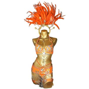 Customized Sexy Samba Rio Carnival Suit Women Luxury Belly Dance Costume Set Head Piece Bra Belt Arm Band Leg Band Necklace