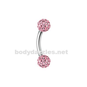 Pink Sprinkle Dot Curved Barbell Eyebrow Ring Rook Daith Ring 16ga Body Jewelry