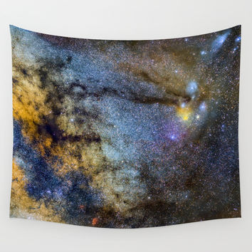 The Milky Way and constellations Scorpius, Sagittarius and the super big red star Antares. Wall Tapestry by Guido Montañés