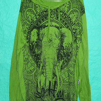 Big T Shirt Awesome Hoodies Big Face Ganesh yoga Om Ohm Hindu Zen Ganesh Genesha Lotus Elephant Magic Hood Long sleeve Size XL/XXLWrinkled
