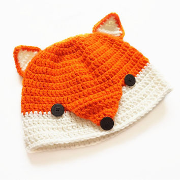 Winter Funny Novelty Children kid's Cartoon Handmade Knitted cute kawaii Cap Fox Hat Beanie