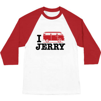 Jerry Garcia Men's  I Bus Jerry Baseball Jersey White/Red