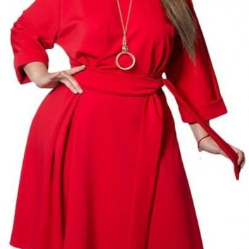 Red Sashes Round Neck 3/4 Sleeve Puffy Plus Size Fashion Midi Dress