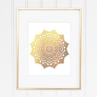 Mandala Art Print, Faux Gold Foil Mandala, Mandala Wall Art, Geometric Wall Art, Geometric Print, Home Decor, Office Decor, Buddhist, Hindu
