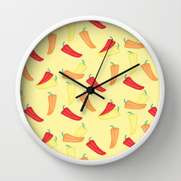 Hot Chili Pepper Pattern on Yellow Wall Clock by CandyBoxDigital