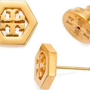 DCCKG2C Tory Burch Hex-Logo Stud Earrings 16k Gold Tone