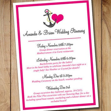 "Beach Wedding Itinerary Template - Wedding Planner ""Anchor Love""  Hot Pink Gray Destination Wedding Coordinator - Wedding Guest Gift Basket"