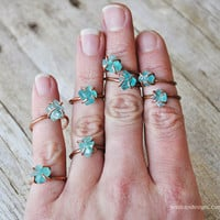Rough Apatite Boho Gemstone Ring - Hand Forged Copper Ring
