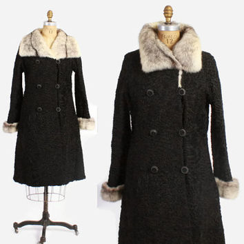 60s SCHIAPARELLI Coat / Vintage 1960s Black Persian Lamb & Cross Mink Fur Trench Dress Coat