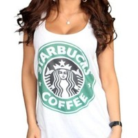 Tru Designz Women's Starbucks Logo Retro Vest Coffee House Graphic Clothing-M-White