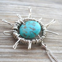 Turquoise Wrapped Silver Wire Sun Pendant Necklace